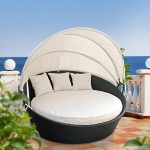 Outdoor Daybed with Canopy Wicker