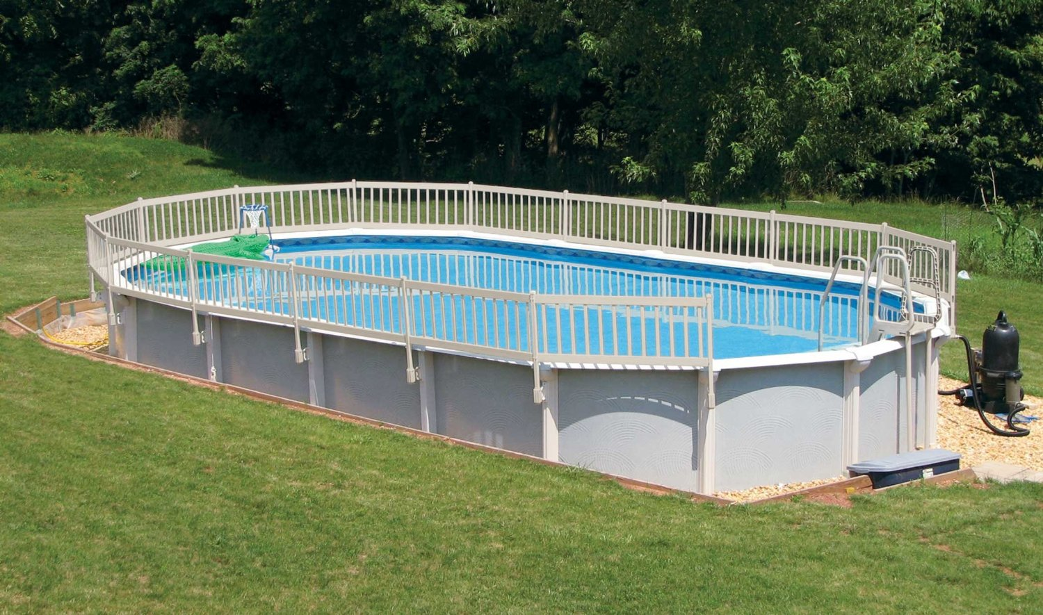 Image of: Oval Above Ground Pool Fence