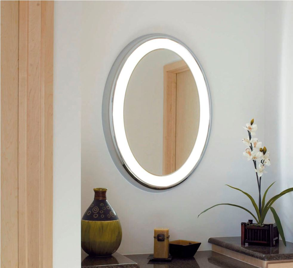 Image of: Oval Bathroom Mirrors with Lights