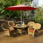 Patio Dining Set with Umbrella Red