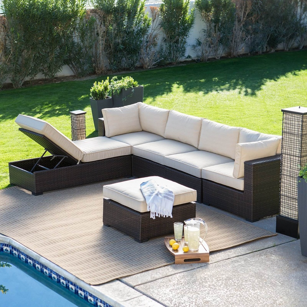 Image of: Patio Sectional Furniture Storage