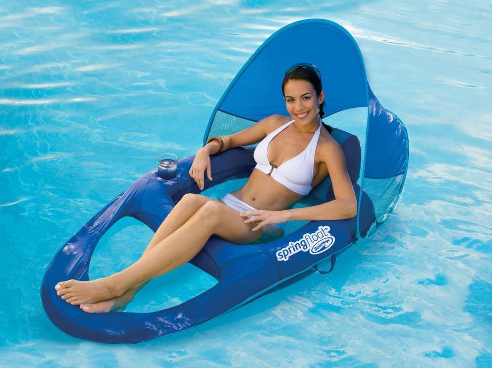 Image of: Pool Lounge Float with Canopy