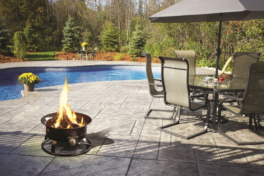 Image of: Propane Deck Fire Pit with Pool
