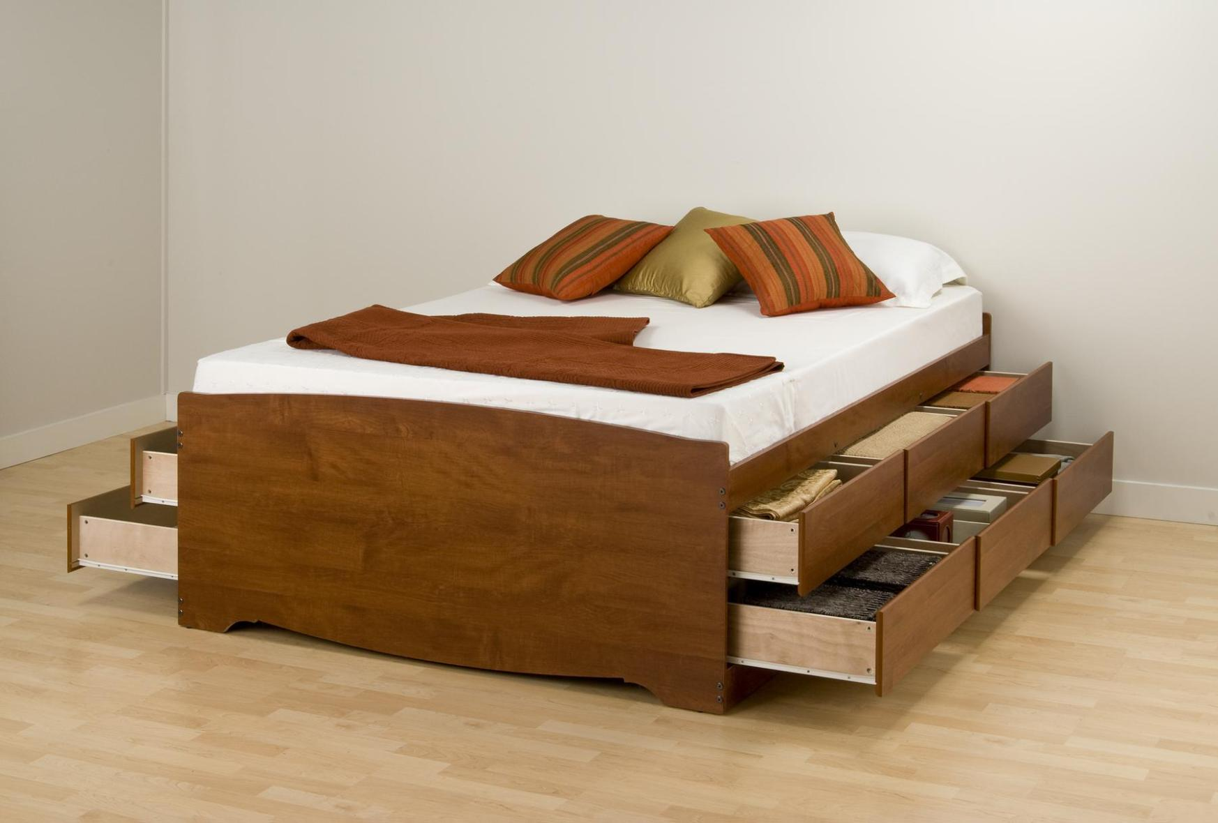 Image of: Queen Bed Frame With Drawers Building Plans