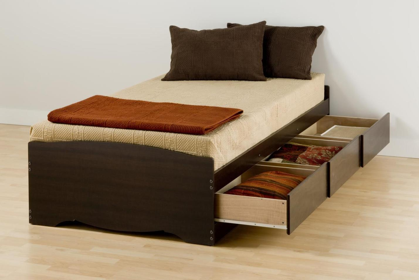 Image of: Queen Bed Frame With Drawers Plans
