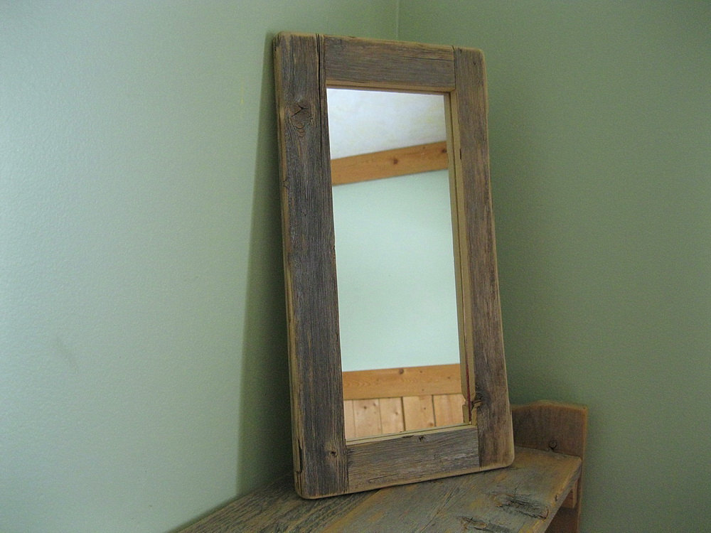 Image of: Reclaimed Wood Mirror Frame Small
