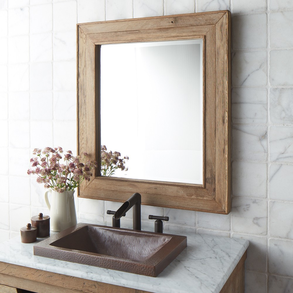 Image of: Reclaimed Wood Mirror Frame Square
