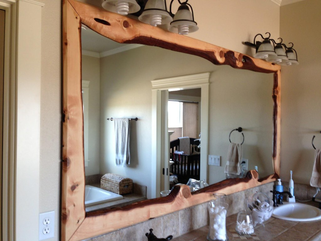Image of: Reclaimed Wood Wall Mirror Arched