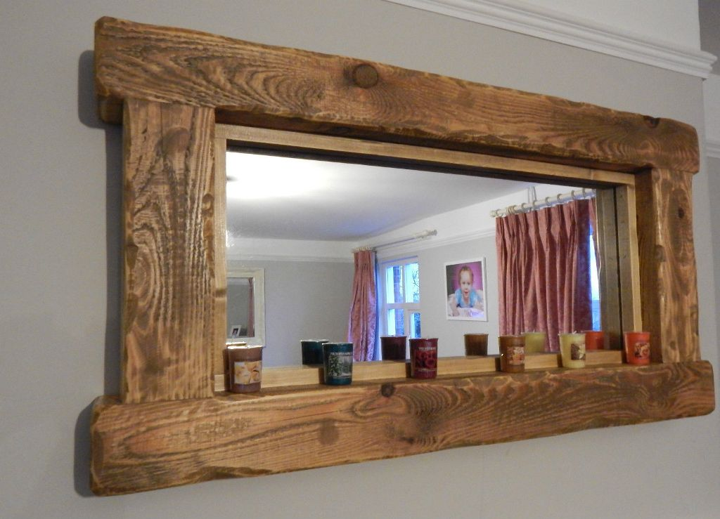 Image of: Reclaimed Wood Wall Mirror with Coat Hooks