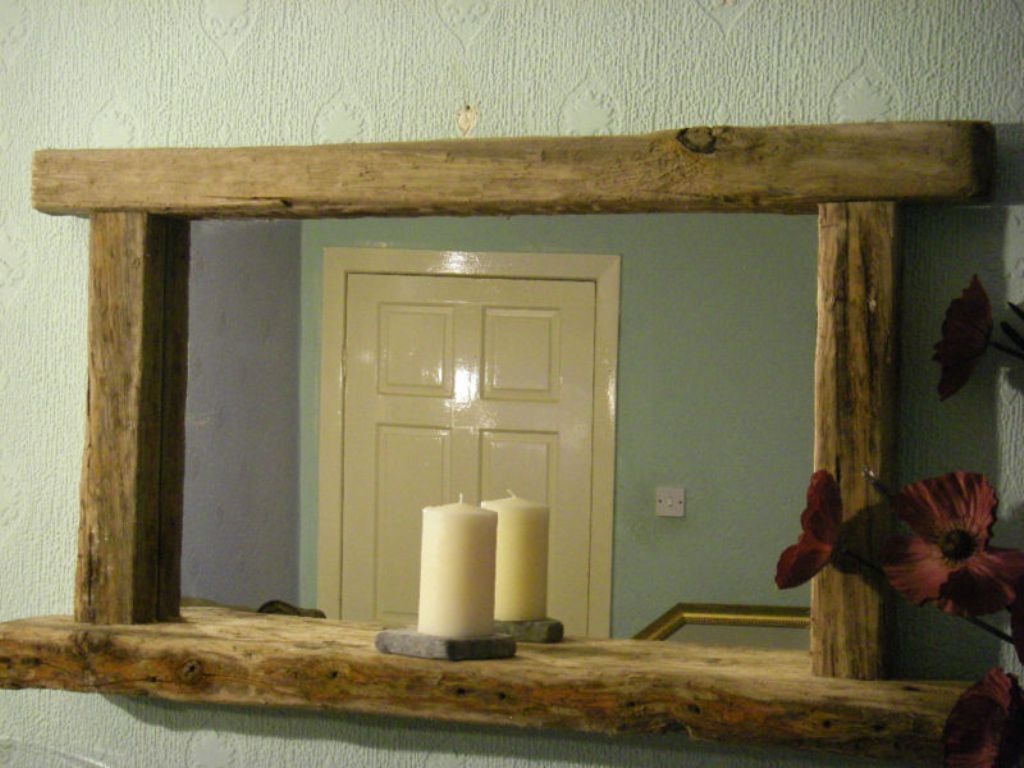 Image of: Reclaimed Wood Wall Mirror with Silver Accents