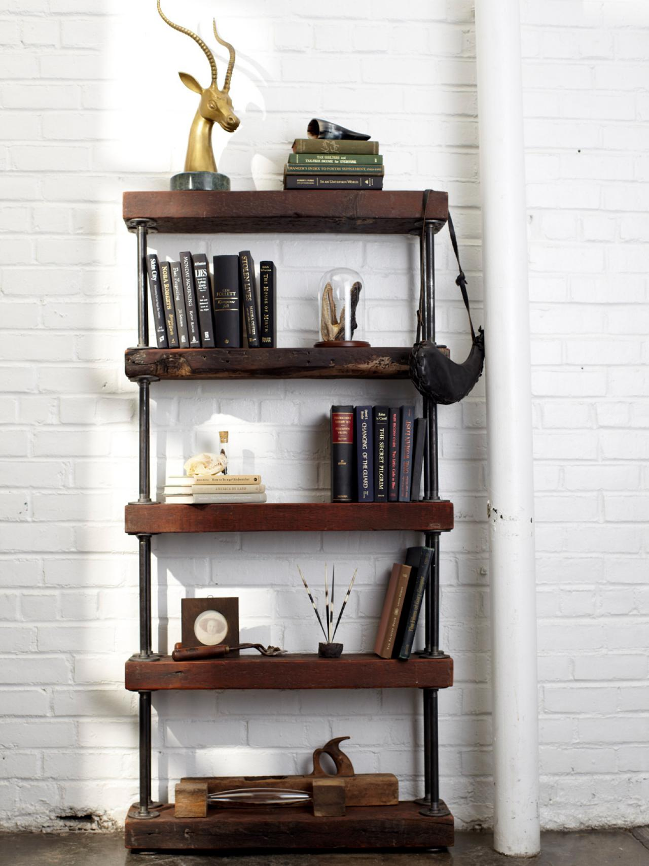 Image of: Reclaimed wood bookcase small