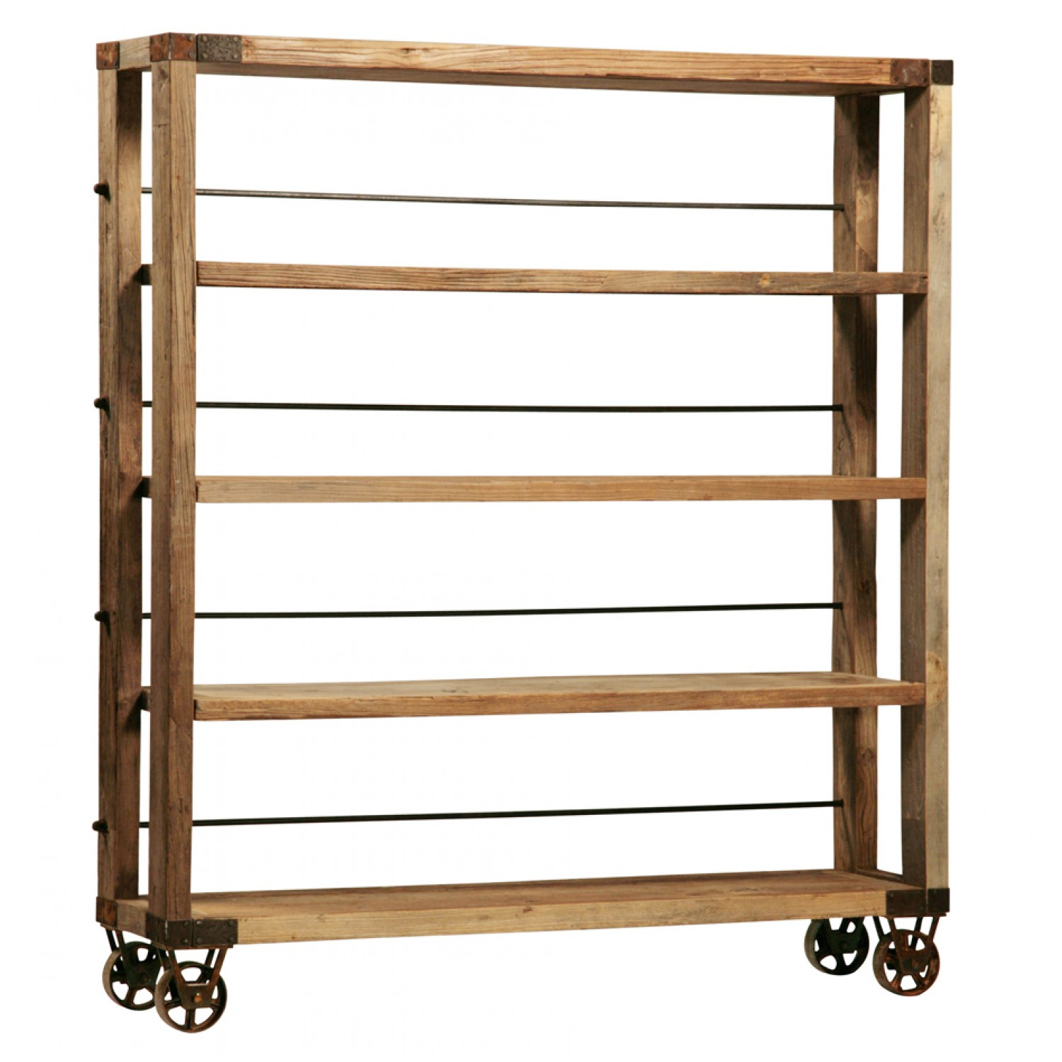 Image of: Reclaimed wood bookcase with wheels