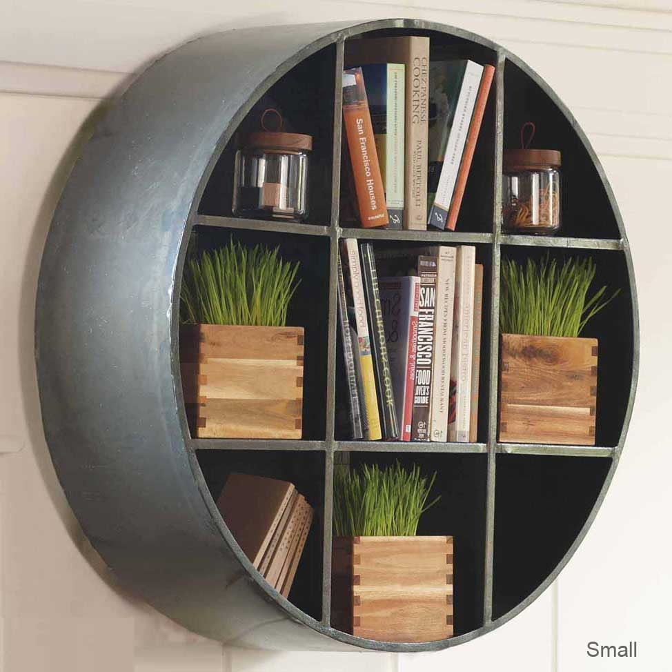 Image of: Round Bookcase Wall