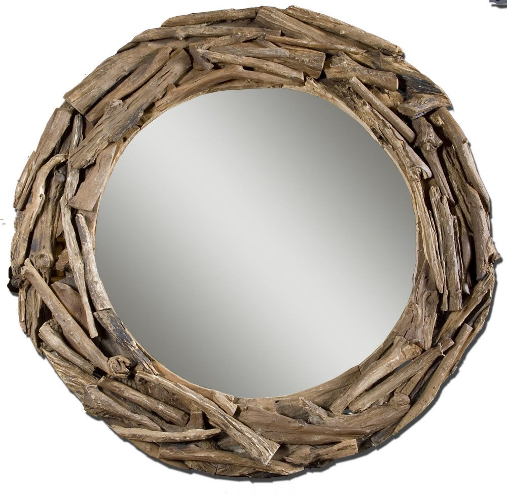 Image of: Round Wall Mirror Wood Frame