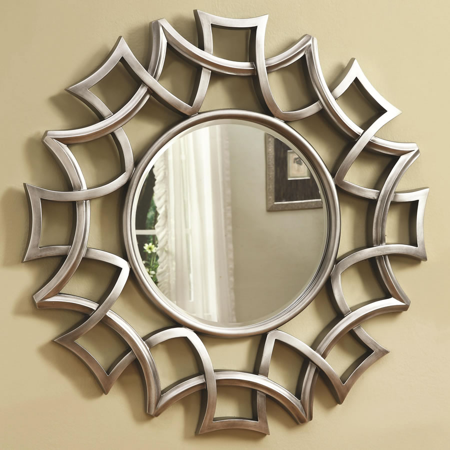 Image of: Round Wall Mirror with Leather Strap