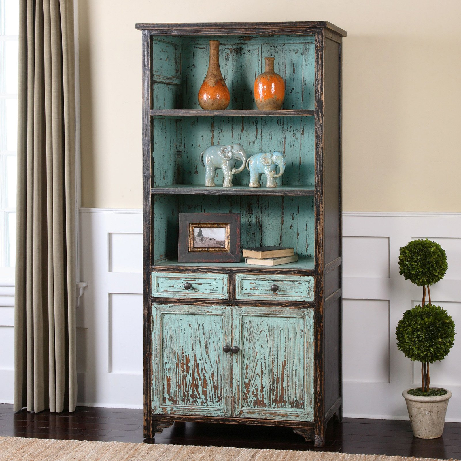 Image of: Rustic Distressed Bookcase