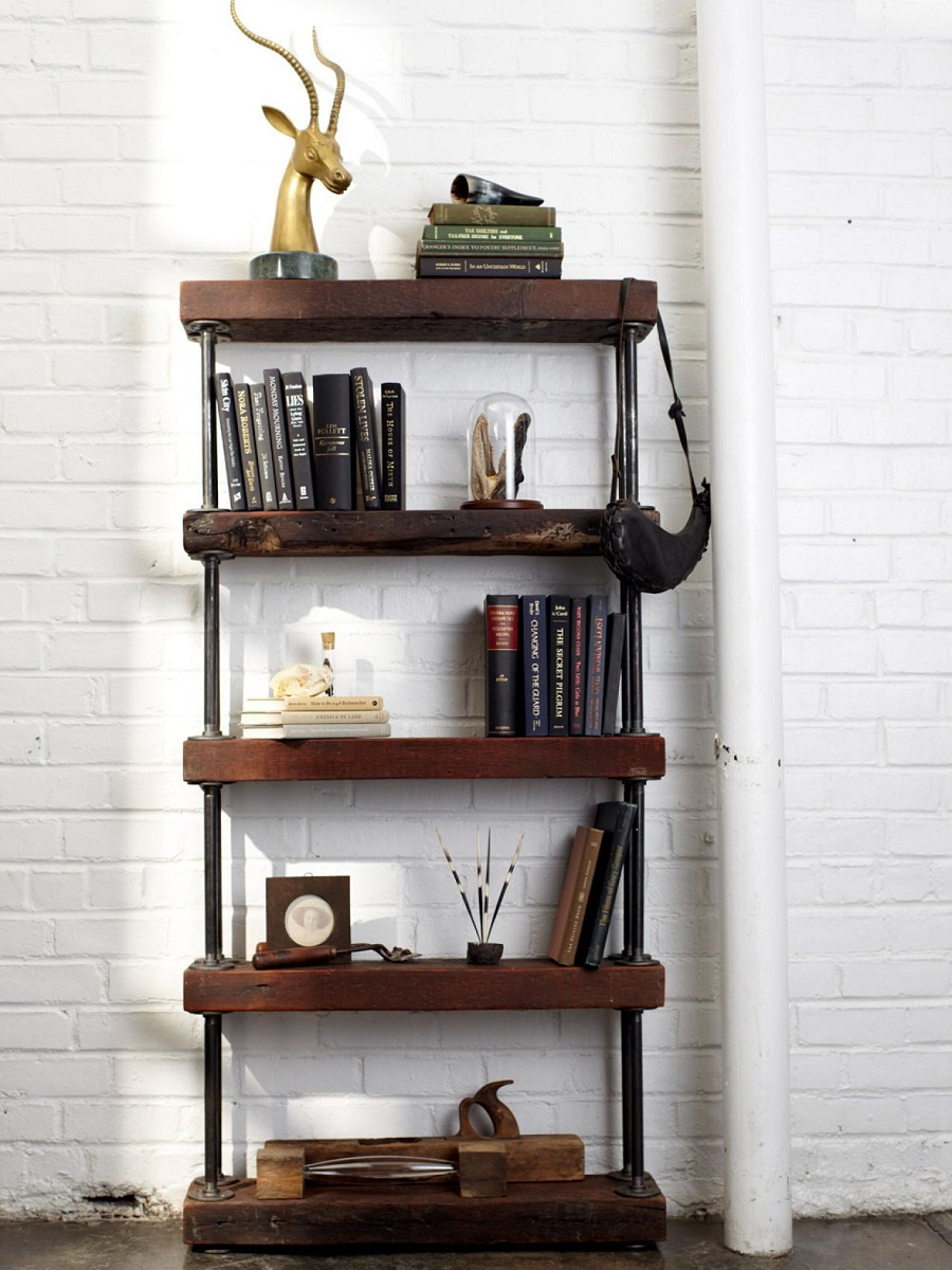Image of: Rustic Industrial Bookcase
