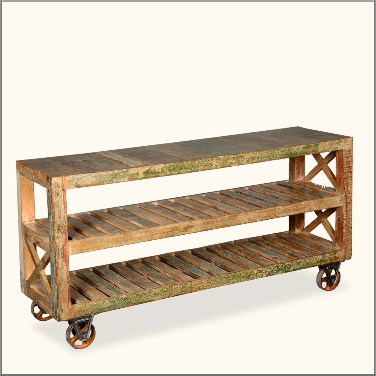 Image of: Rustic Rolling Bookcase