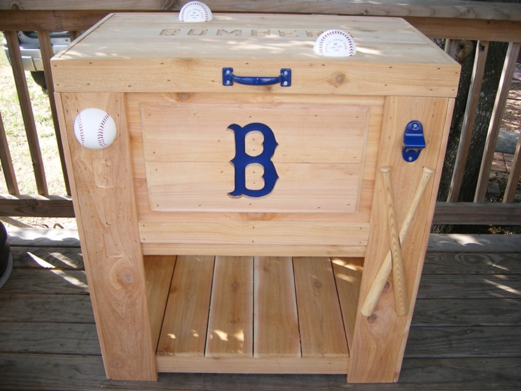 Image of: Rustic Wooden Deck Cooler