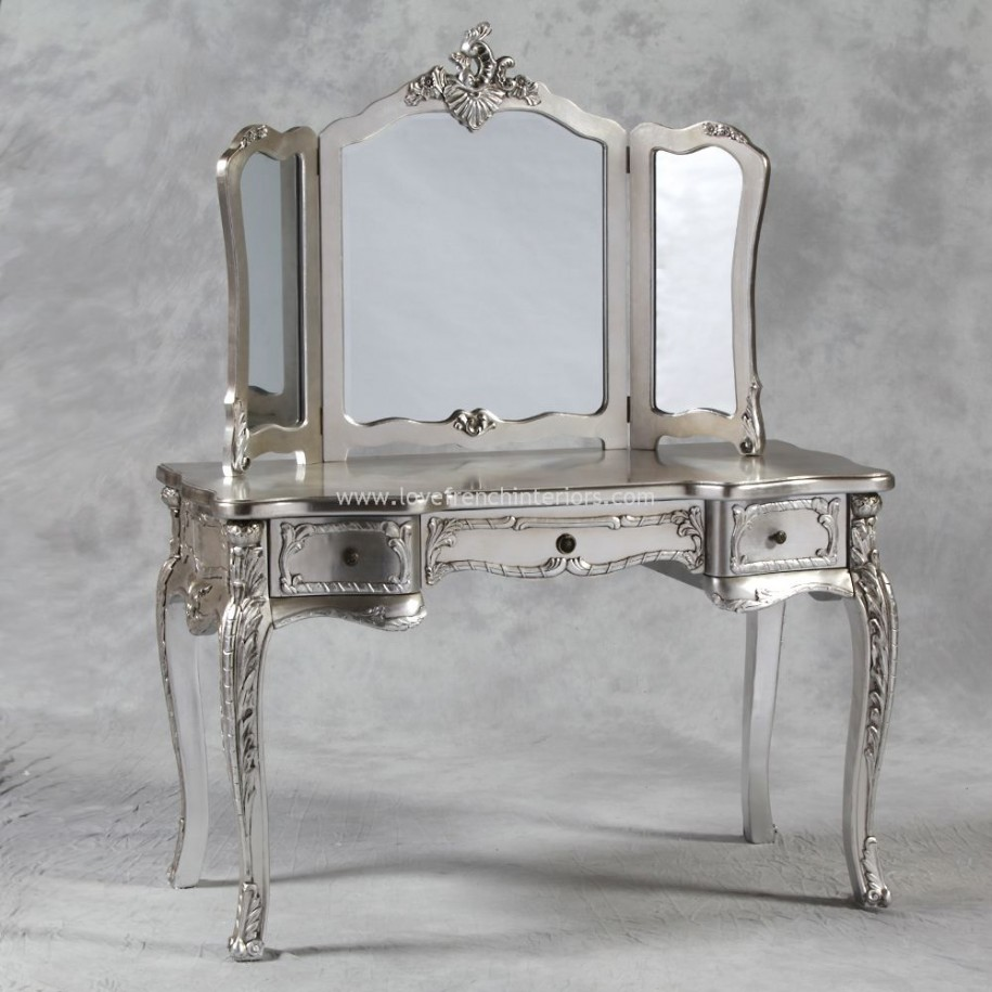 Silver Mirrored Makeup Vanity