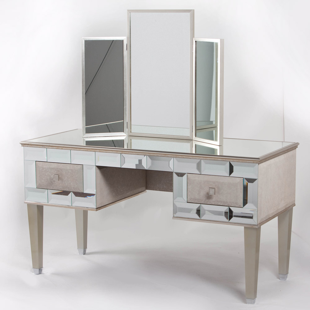 Image of: Silver Vanity Table with Mirror