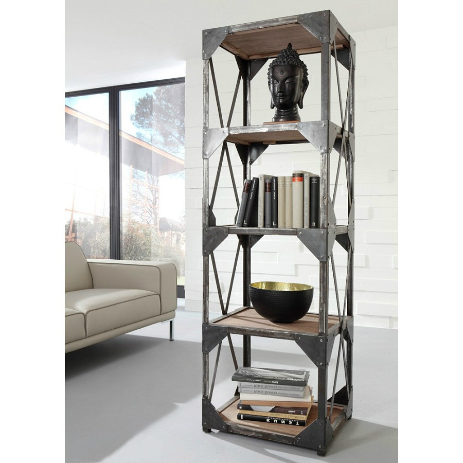 Image of: Slim Industrial Bookcase