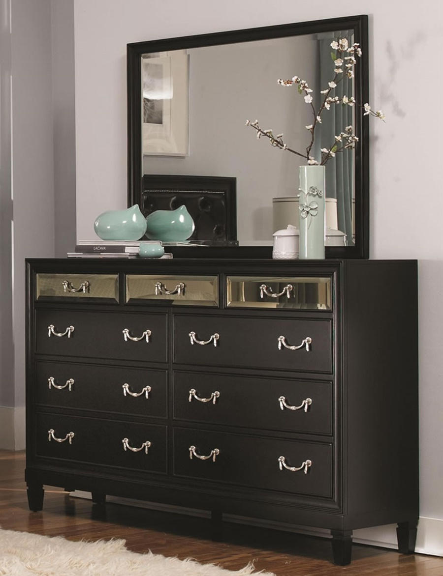 Image of: Small Black Dresser With Mirror