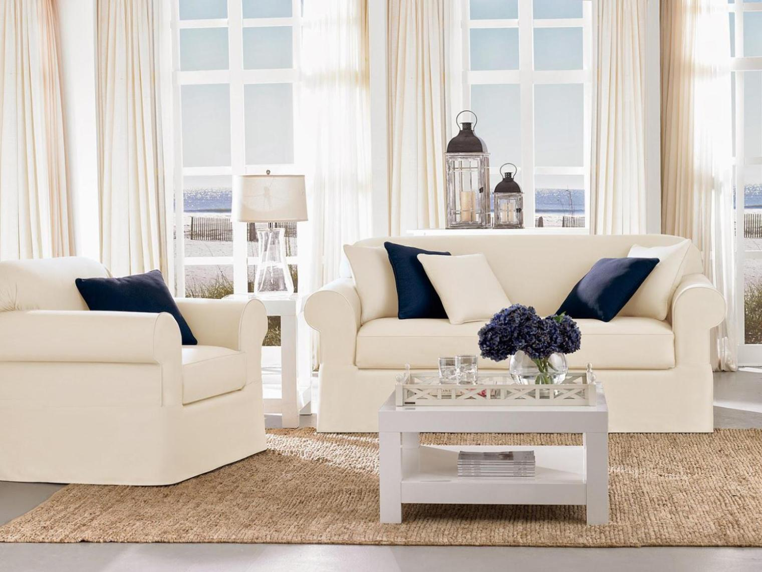 Image of: Sofa And Loveseat Slipcover Sets