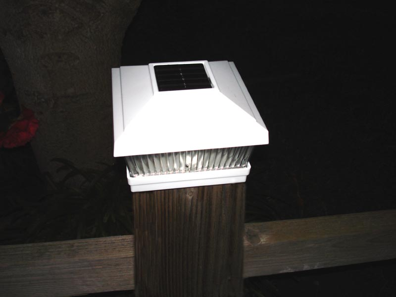 Image of: Solar Deck Post Caps Lights