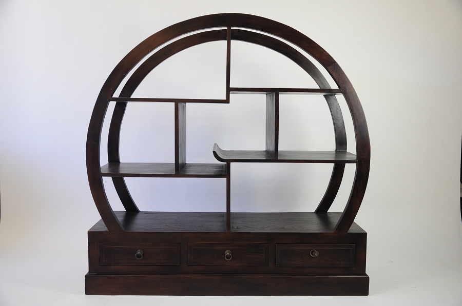 Image of: Solid Teak Round Bookcase