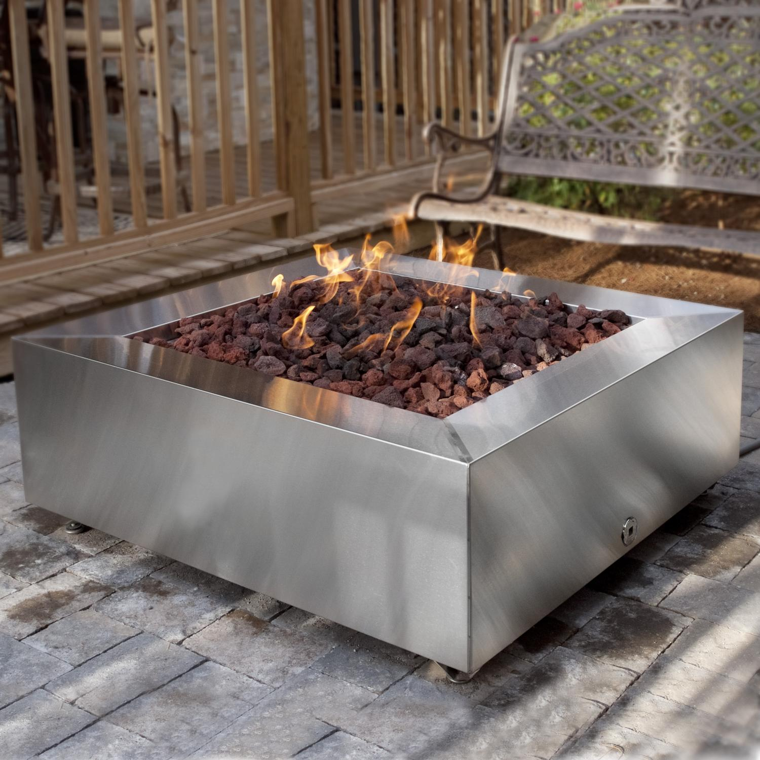 Square Outdoor Propane Fire Pit