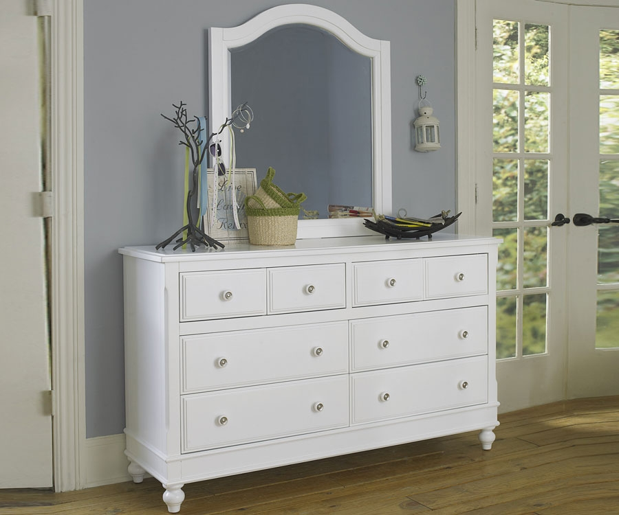 Square White Dresser With Mirror