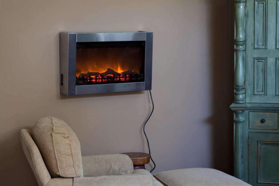 Image of: Stainless Steel Wall Mounted Electric Fireplace