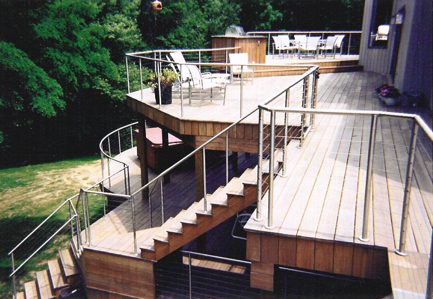 Image of: Stainless Steel and Glass Deck Railing
