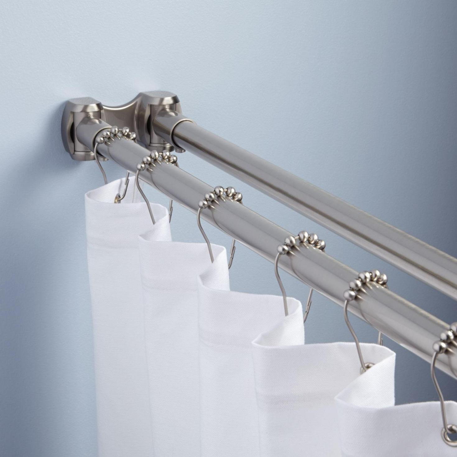Image of: Straight Double Shower Curtain Rod