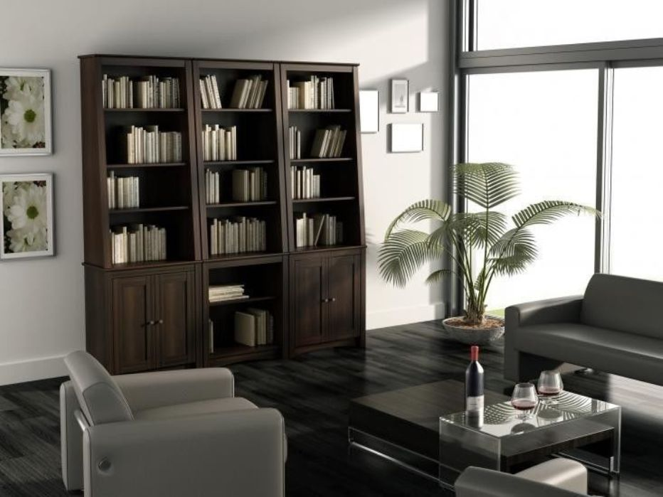 Image of: Tall bookcase with doors