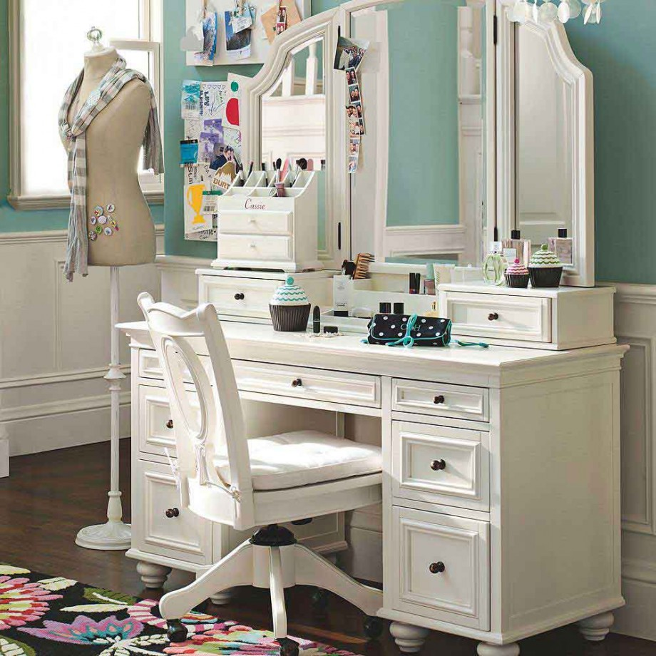 Image of: Teen Vanity Table with Mirror