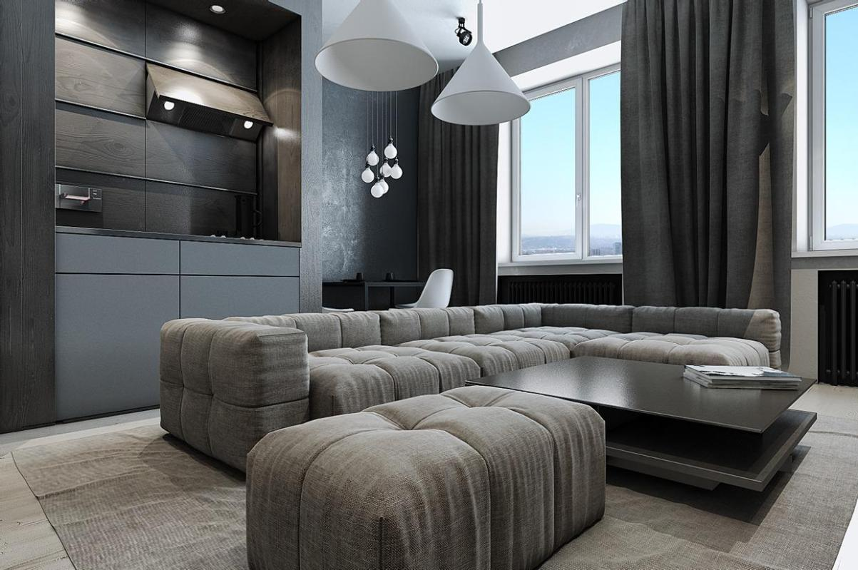 Image of: Tufted Ottoman Living Room