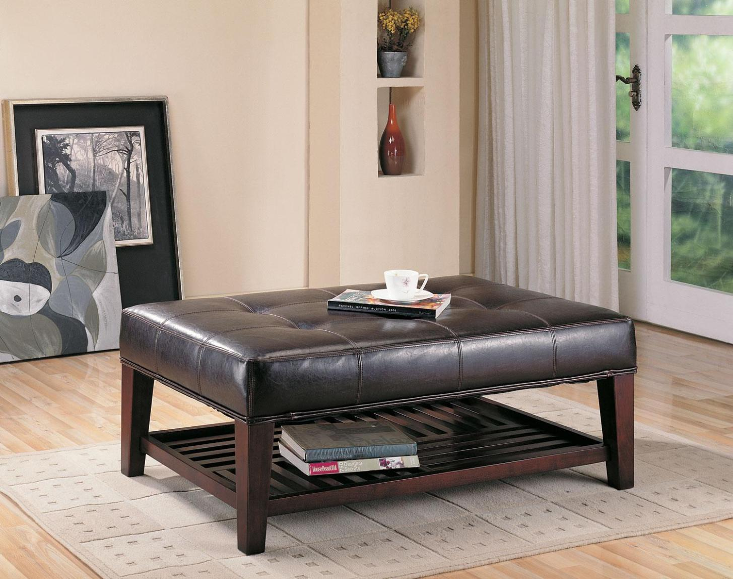 Image of: Tufted Ottoman With Shelf
