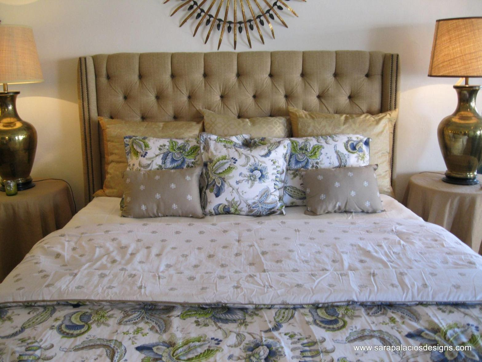 Image of: Tufted Wingback King Headboard