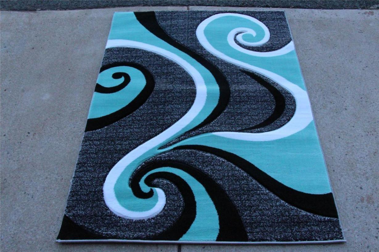 Image of: Turquoise And Black Area Rug