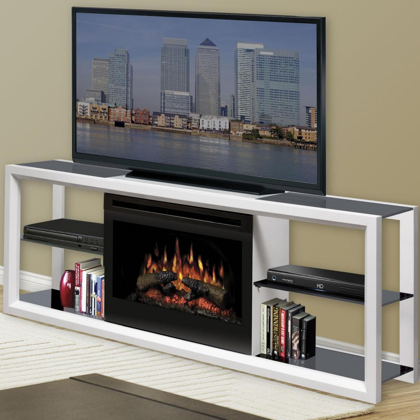 Image of: Tv Stand With Electric Fireplace White