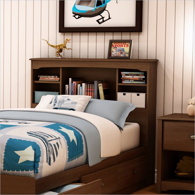 Image of: Twin Bookcase Headboard and Storage