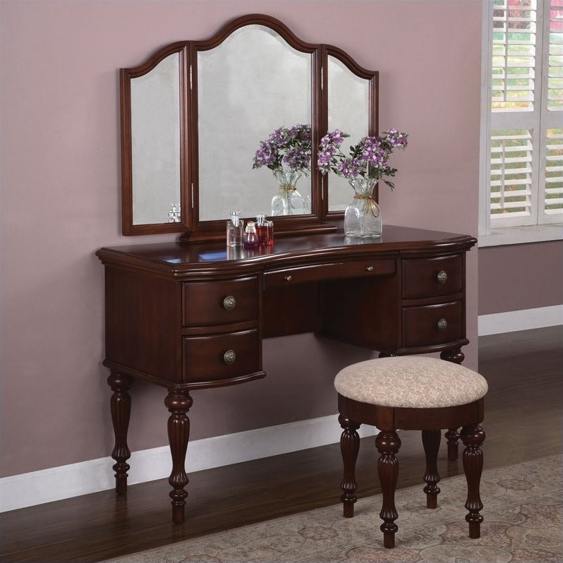 Image of: Vanity Dresser with Mirror Brown