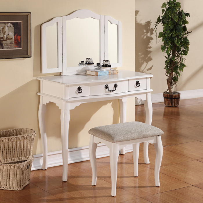 Image of: Vanity Dresser with Mirror and Chair