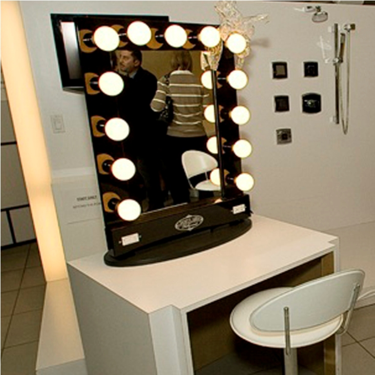 Vanity Makeup Mirror with Light Bulbs and Stool