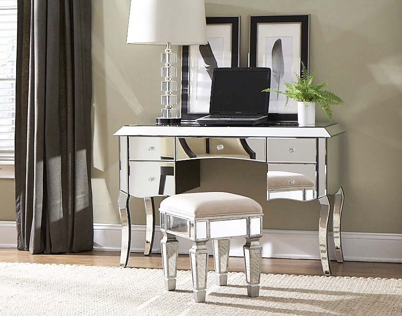 Image of: Vanity Table with Mirror and Stool