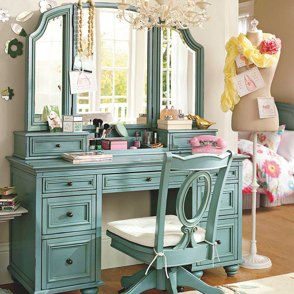 Image of: Vintage Vanity Table with Mirror