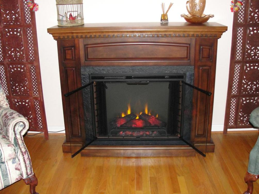 Image of: Wall Mount Electric Fireplace With Mantel