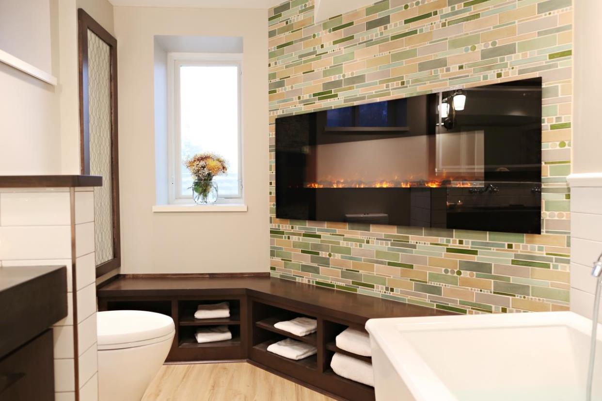 Image of: Wall Mounted Electric Fireplace In Bathroom
